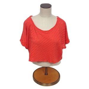 😀 NWT Emma & Sam LF Stores Red Crop Top Cotton